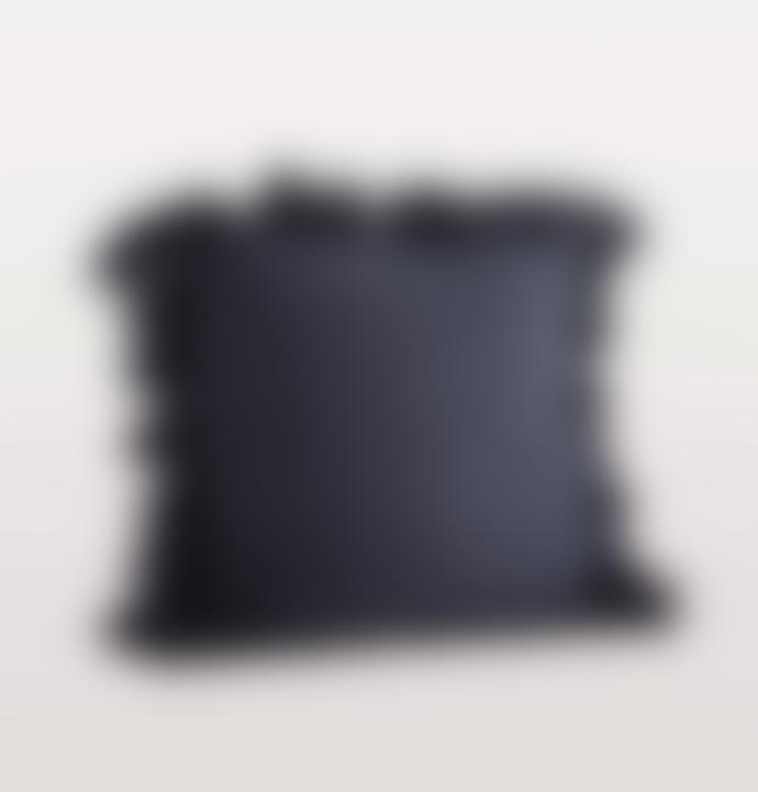 Madam Stoltz Navy Blue Linen Cushion With Tassels