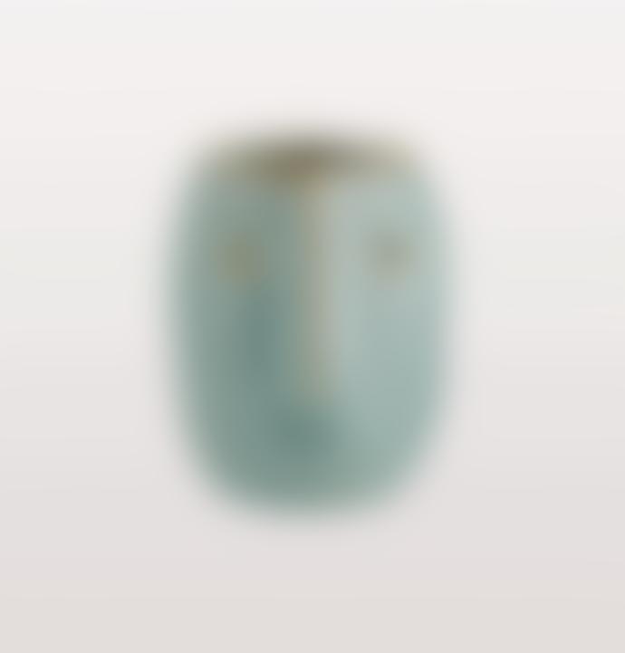 Madam Stoltz Turquoise Stoneware Face Pot