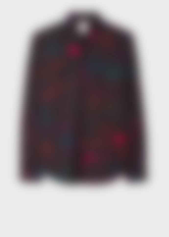 Paul Smith Men's Slim-Fit Black 'Ideas Script' Print Cotton Shirt