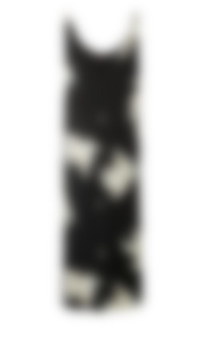 Yaya Long Strappy Dress with Jungle Flower Print - Black