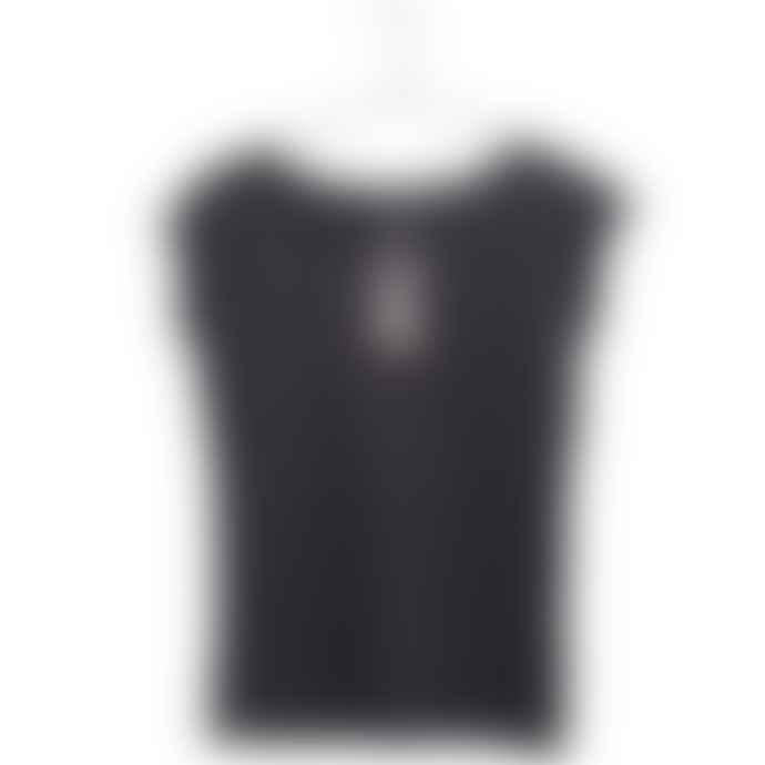 Liebling Malmo Black Organic Cotton Raglan Cap Sleeve T Shirt