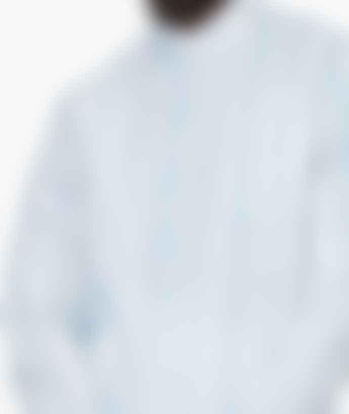 Saturdays NYC Indigo Ivory Cotton Crosby Vertical Shirt