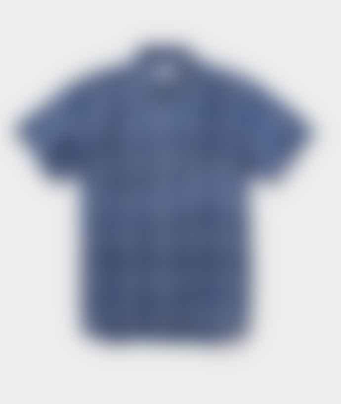 Saturdays NYC Blue Cotton Esquina Reverse Print Shirt