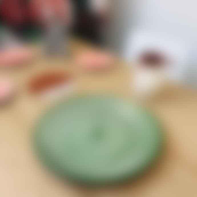 Casa Cubista Dark Green Striped Terracotta Platter Concentric