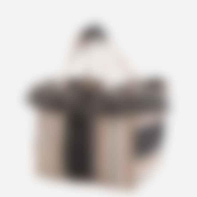 Madam Stoltz Black, Orange and Natural Striped Cotton Bag with Fringes