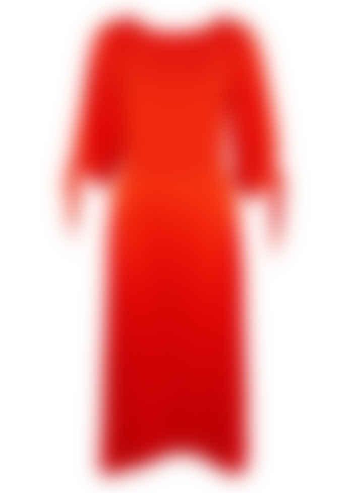 Closet Orange Pleated Tie Sleeve Dress
