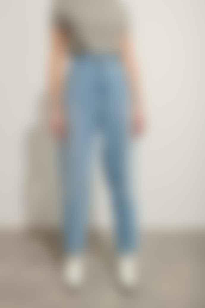 Le Mont St Michel Blue Cotton Boyfriend Denim Trousers