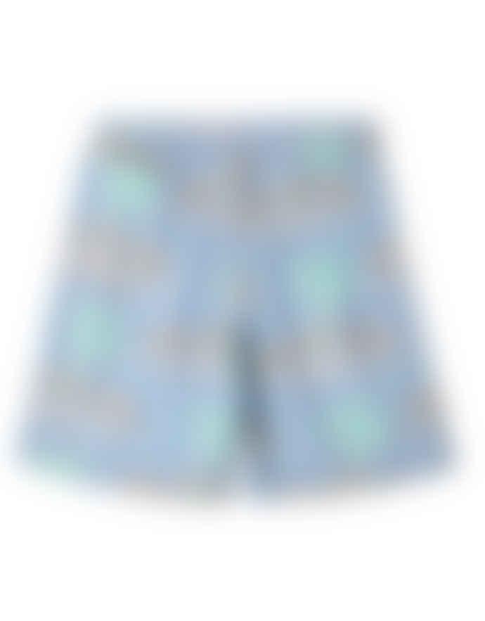 Edwin Ice Blue Cotton Psyche Palm Chiba Short