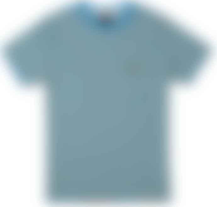 RVCA Vincent Stripe Tee Shirt Blue Cruz