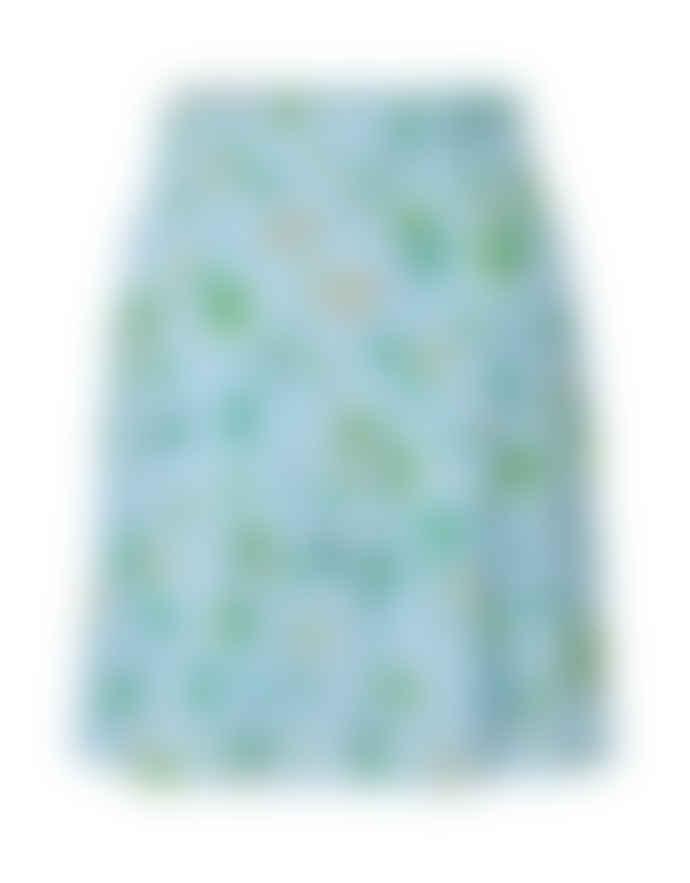 Storm & Marie Light Blue Viscose All Over Print Dakota Skirt