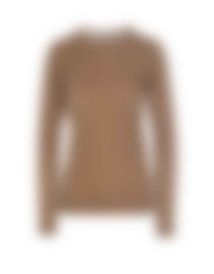 Hosbjerg Camel Cashmere Dara O Neck Thin Long Sleeve Sweater