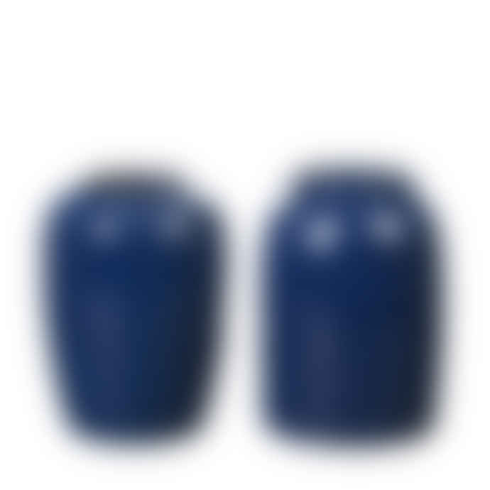 Broste Copenhagen Night Blue Glazed Ceramic Curve Vase