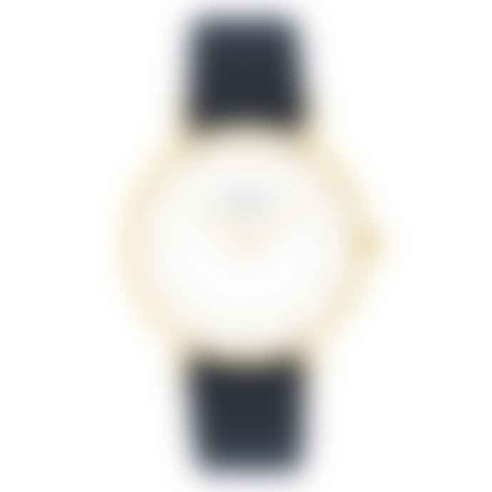 Mermaid Stories White and Golden Cecilie Watch with Navy Blue Calf Leather Band