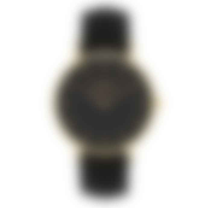Mermaid Stories Golden Louise Watch with Night Black Calf Leather Band