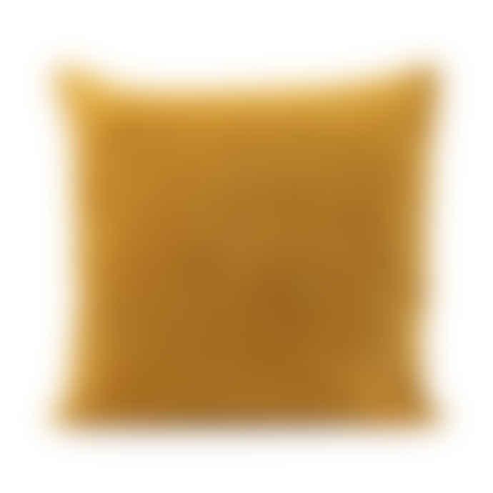 House Doctor Quilted Velvet Herringbone Cushion in Mustard