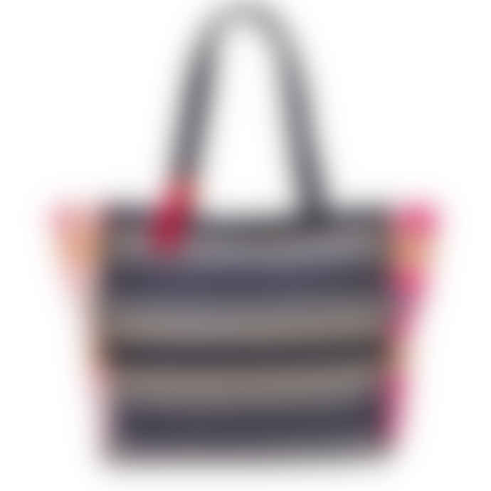 House of disaster Navy Embroidered Jacquard Shopper Bag