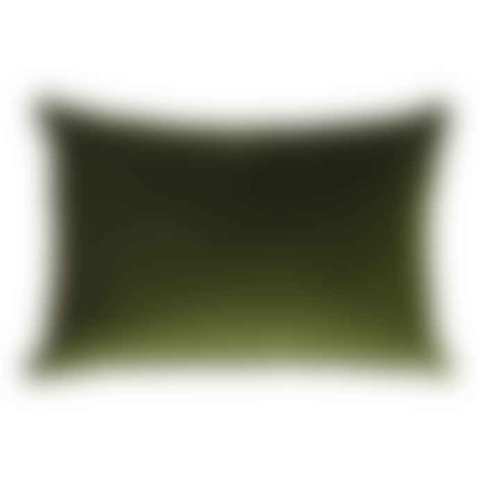 The Hackney Draper Long Olive Velvet Cushion
