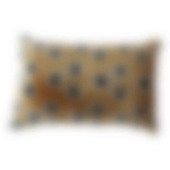 The Hackney Draper Gold and Black Spot Velvet Cushion