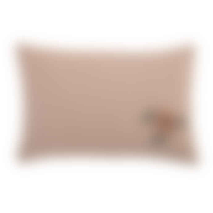 Bloomingville  Pink Embroidered Cushion