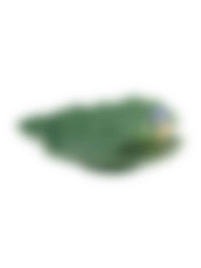 Bordallo Pinheiro Green Earthenware Ragwort Leaf with Blue Bird