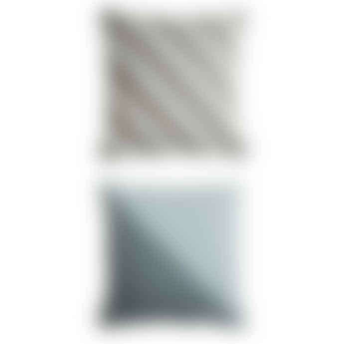 OYOY Organic Cotton Cushion Dotti in reversible Motif -Grey-Blue-White