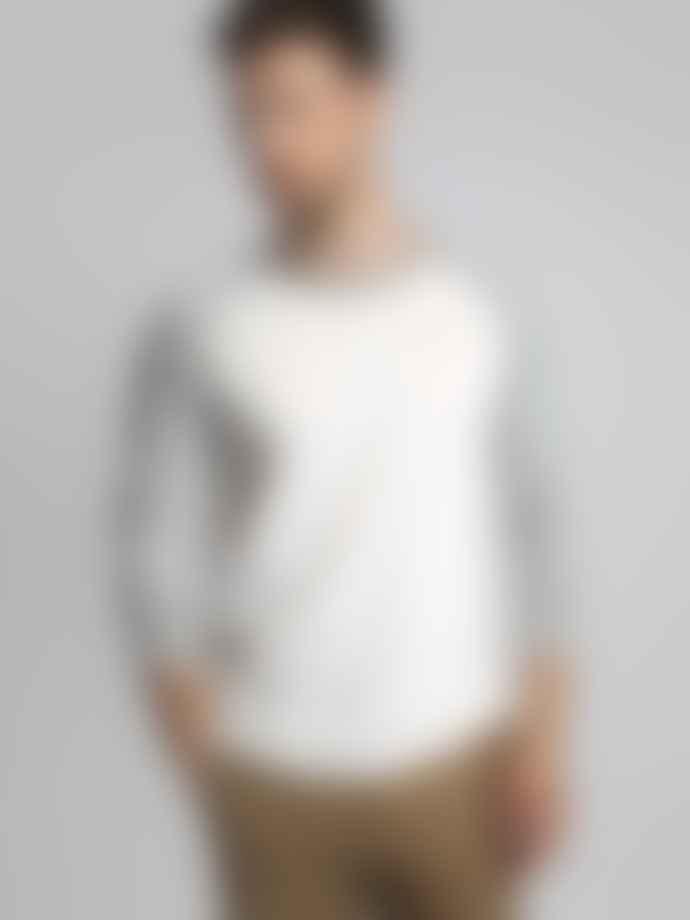 Hymn London 'BASE' White Raglan Long Sleeve Grey Marl Top T-shirt