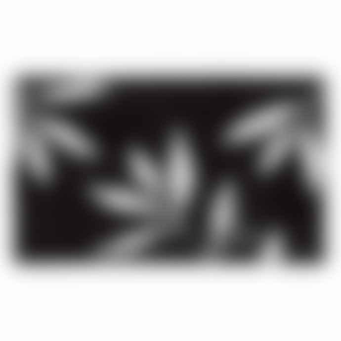 InterDesign 86 X 53 Cm Rug Black White Leaves