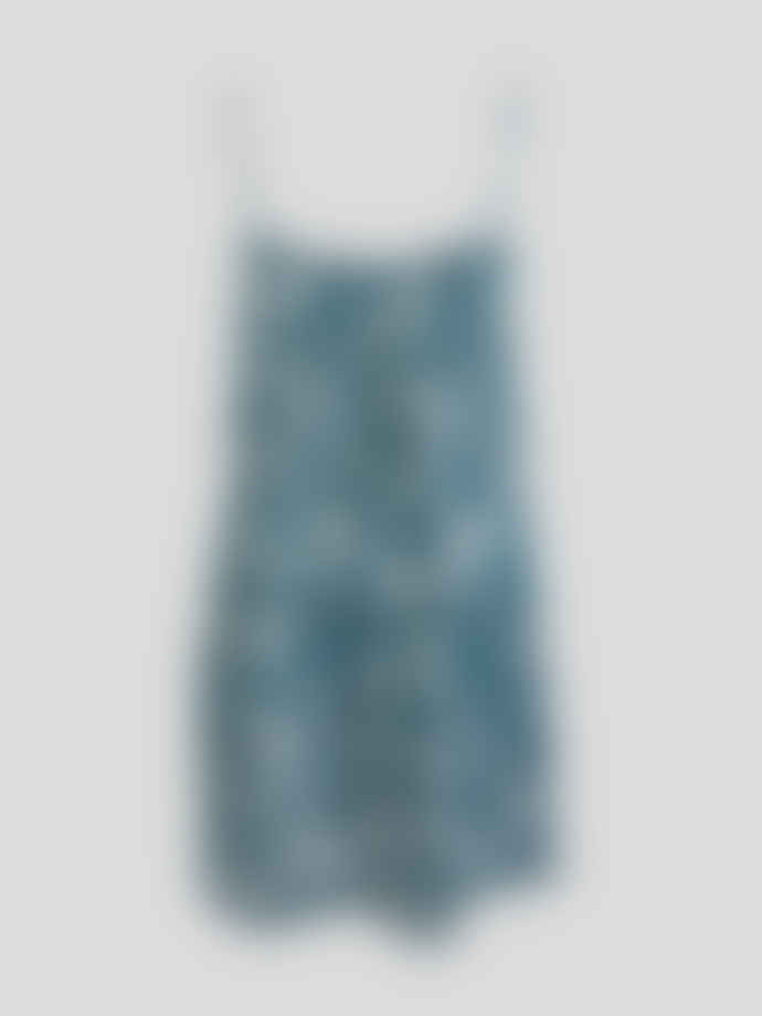 Wallace Cotton Teal Cotton and Modal Botanical Print Love Tale Strappy Nightie
