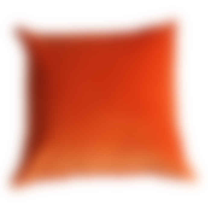 The Hackney Draper Tangerine Velvet Cushion