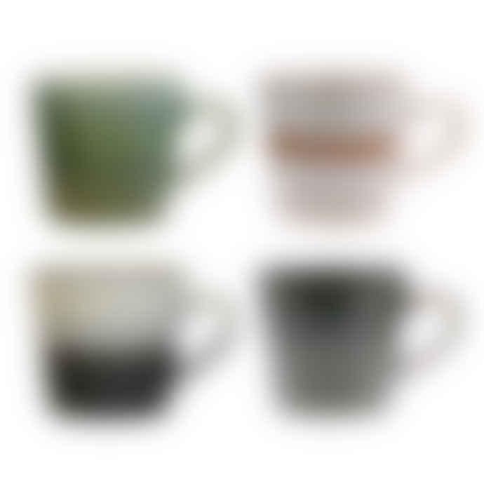 HK Living Set of 4 Ceramic Cappuccino Cups