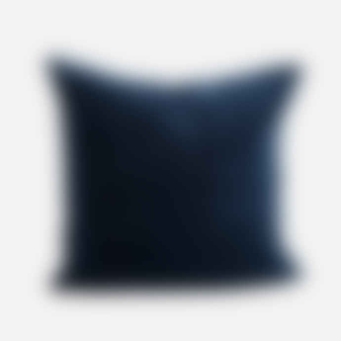 Madam Stoltz Velvet Cotton Cushion in Midnight Blue