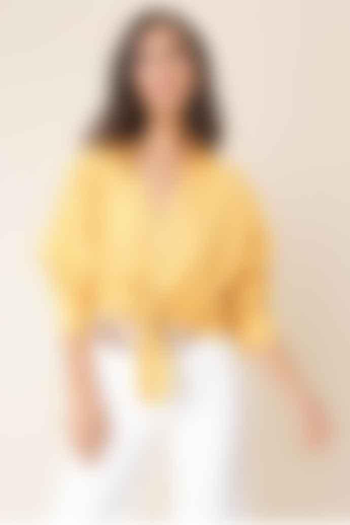 Influence Mustard Linen Tie Shirt