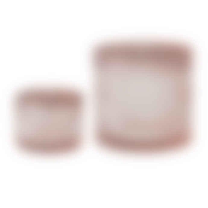 Bloomingville Set of 2 Pink Glass Jars