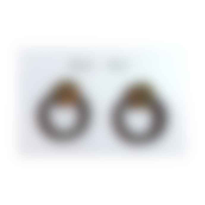 Mica Peet Blue Brass Circle Stud Earrings