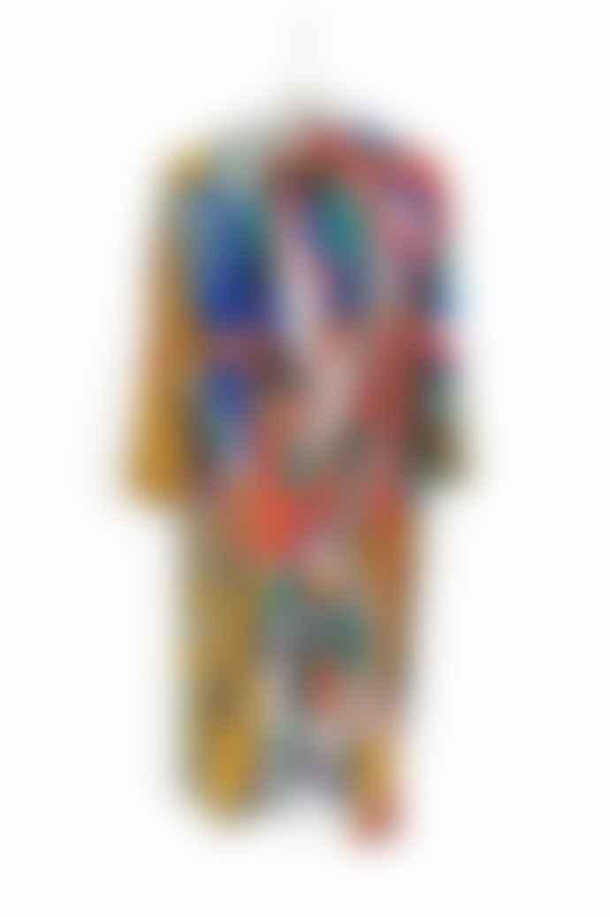 Blandat Blandat Long Blush Cotton & Silk Spirograph Kimono