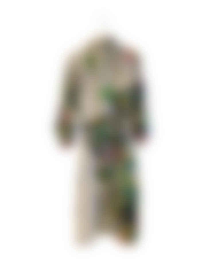 Blandat Blandat Long Blush Cotton & Silk Forest Deco Kimono