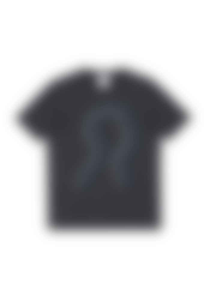 Armedangels 100% Organic Cotton 'Head Music' Printed T-shirt In Acid Black