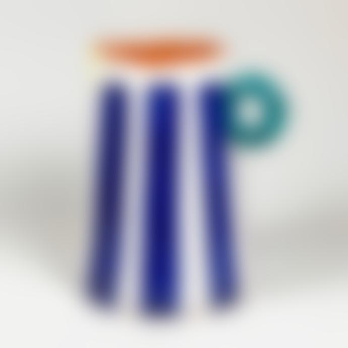 Pura Cal Handmade Cobalt Blue Stripes Terracota Mini Pitcher