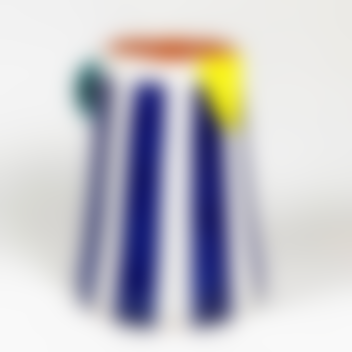 Pura Cal Handmade Clay Blue Stripes Mini Pitcher