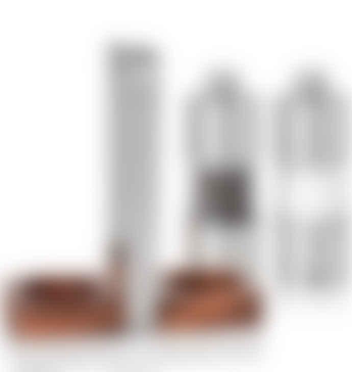 AdHoc Pepper Salt Set Stainless Steel Acacia Wood Acrylic