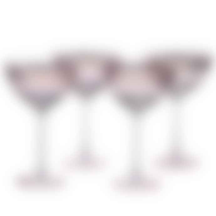 Single Pink Champagne Glass With Gold Rim