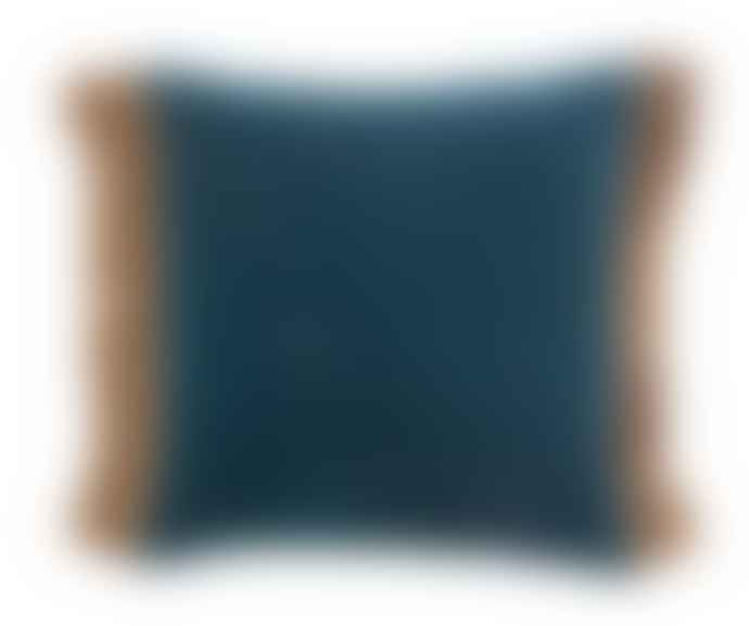 Nordal Double Sided Two Tone Teal/Dusty Blue Velvet Cushion with gold fringe