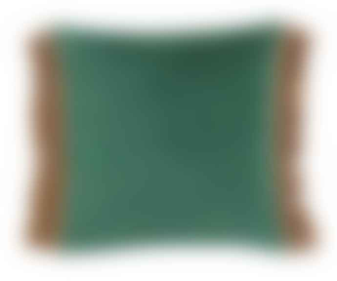 home Cushion Cover W Fringes Dusty Green