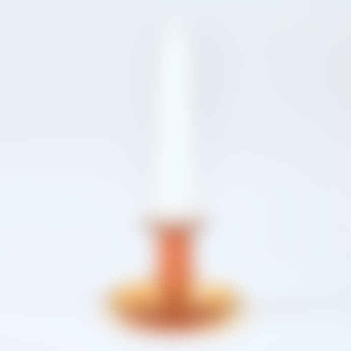 HAY Amber Flare Glass Candlestick