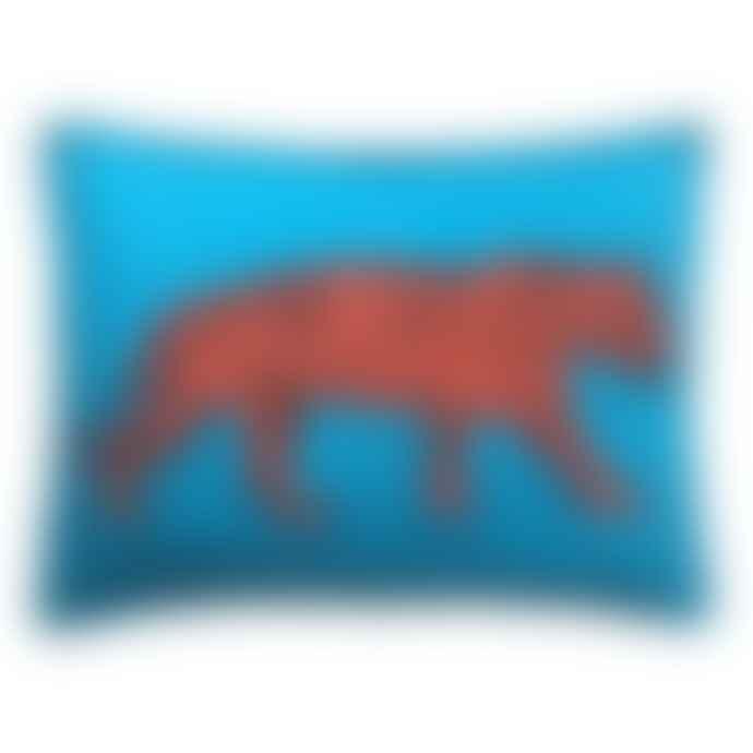 Jan Constantine Blue Felt Woolen Tiger Cushion