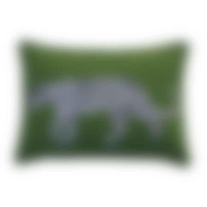 Jan Constantine Green Felt Woolen Leopard Cushion