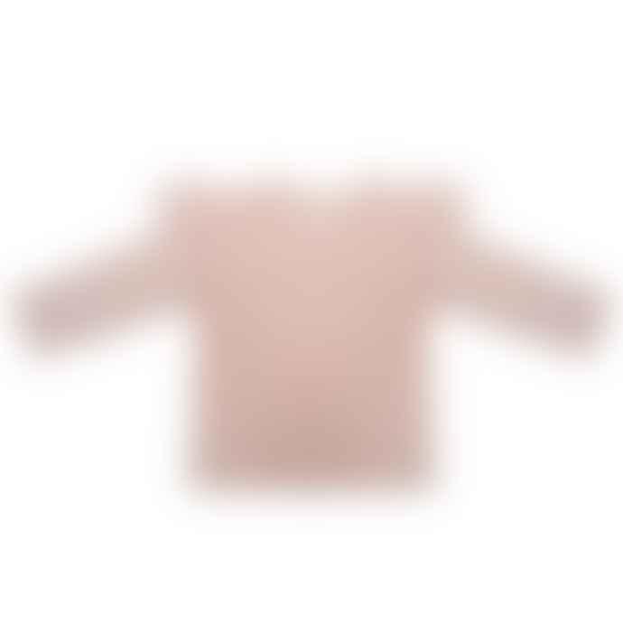 Little Indians Faded Pink Velour Cotton Longsleeve Ruffle T Shirt