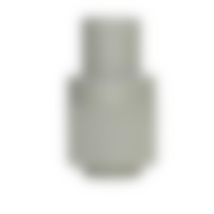 Hubsch Green Ribbed Vase