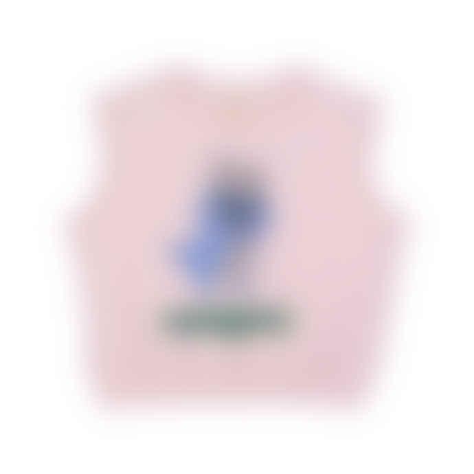 Hugo Loves Tiki Pink Organic Cotton Short Sleeve Canguro Chest Kids Sweatshirt