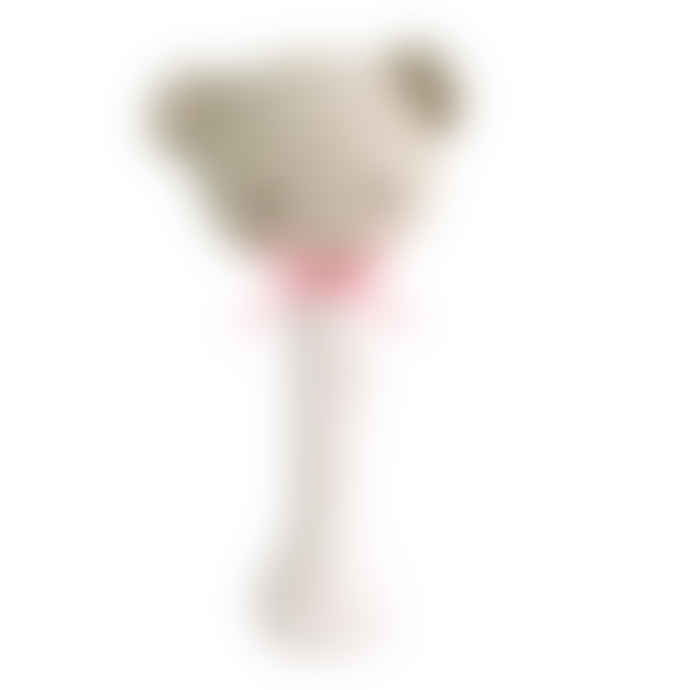 Alimrose Baby Bear Stick Rattle Spot Pink on Ivoiry